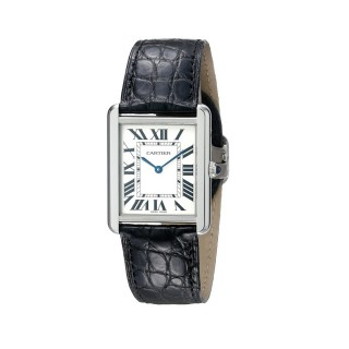 Cartier Men's W5200003 Tank Solo Stainless Steel Watch with Black Leather Band