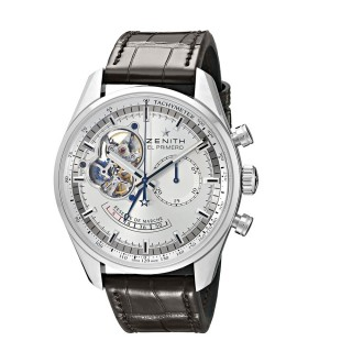 Zenith Men's 03.2080.4021/01.C494 Chronomaster Stainless Steel Open Heart Automatic Watch with Brown Leather Band